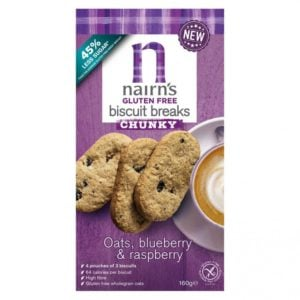 Nairns Biscuit Breaks Oats, Blueberry & Raspberry 160 gram (3x3 koekjes)